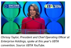 Chrissy Taylor, President and Chief Operating Officer at Enterprise Holdings, spoke at this year's GBTA convention. Source: GBTA YouTube